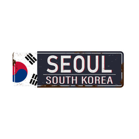 Seoul road sign isolated on white background.