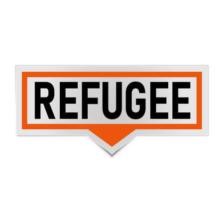 orange REFUGEES text on a speech bubble tag. Vector banner with REFUGEES tag on a white background.