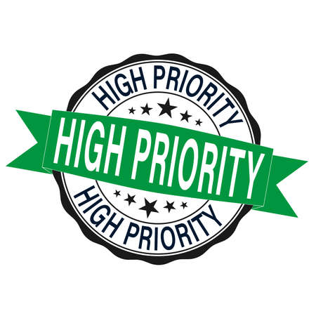 high priority. stamp green round vintage high priority sign