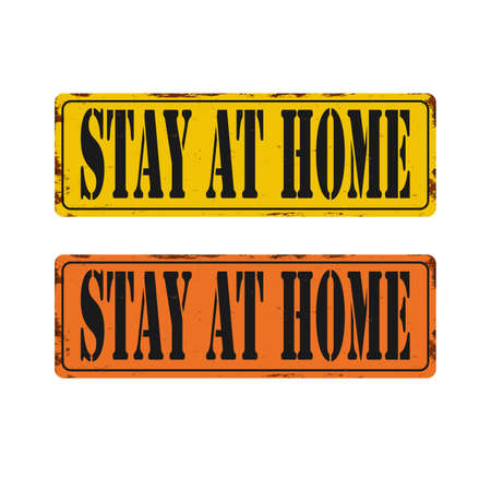 Stay at home warning sign, stop the spread of Germs, coronavirus prevention quarantine poster, pandemic covid-19.