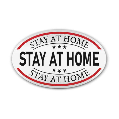 Stay home campaign badge. Design for prevention in quarantine times in pandemic virus outbreak.