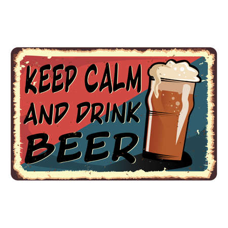 red blue Keep calm and drink beer card metal sign