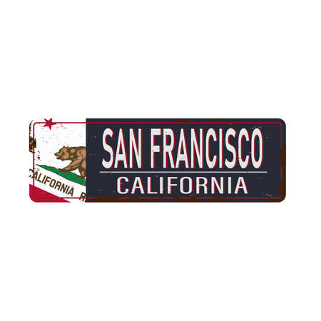 San Francisco vintage rusty metal sign on a white background, vector illustration