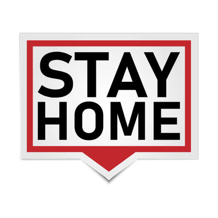 red Stay home, home sticker badge, symbol, vector illustration.