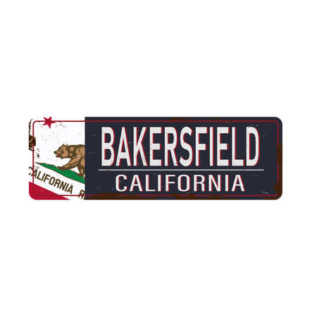 Bakersfield witth California Flag vintage rusty metal sign on a white background, vector illustration