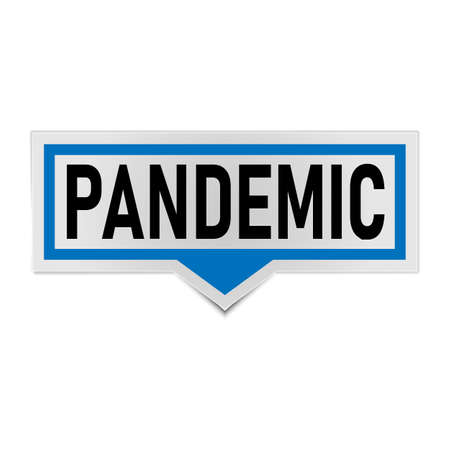 Sticker, Vector Sign Caution Warning, Pandemic Covid-19 Quarantine,