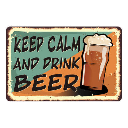 Keep calm and drink beer card metal sign 일러스트