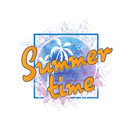 Conceptual phrase Summer time. tee graphic. T shirt hand lettered calligraphic design. Lettering design. Vector illustration