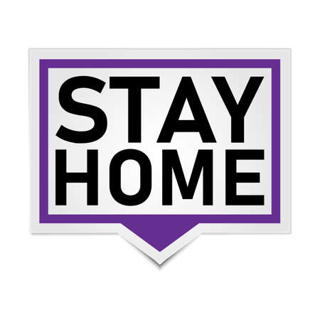 Stay home, home sticker badge, symbol, vector illustration. 일러스트