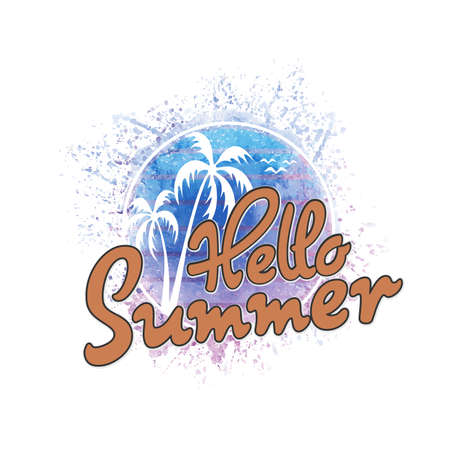 Hello Summer. Modern calligraphic T-shirt design with flat palm trees on bright colorful watercolor background. Vivid cheerful optimistic summer flyer, poster, fabric print design in vector