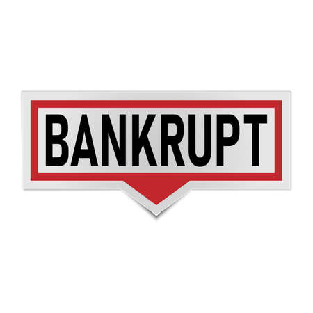 red Bankrupt Sticker Speech Bubble. on a white background.