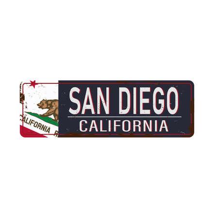 Vintage tin sign with USA city name San Diego Retro souvenir sign old metal background. Traveling theme.