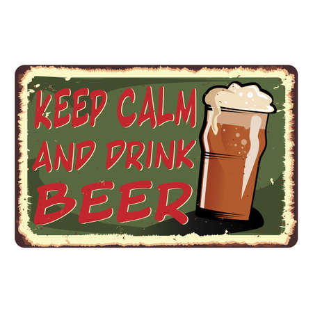 green Keep calm and drink beer card metal sign 일러스트