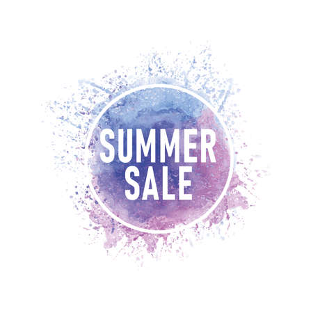 Summer Sale beautiful abstract watercolor logo. There is a place for text.Perfect Illustration 일러스트