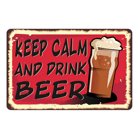 red Keep calm and drink beer card metal sign 일러스트