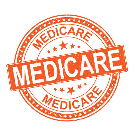 orange Medicare universal healthcare campaign stamp flat vector label for print and websites