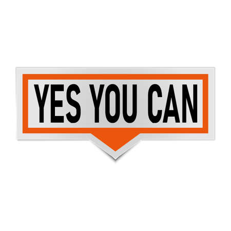 orange yes you can. Life quote with modern background vector illustration