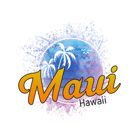 Maui Hawaii surf watercolor splash banner and sunset
