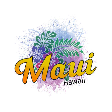 Maui Hawaii surf grunge poster with summer shield inside