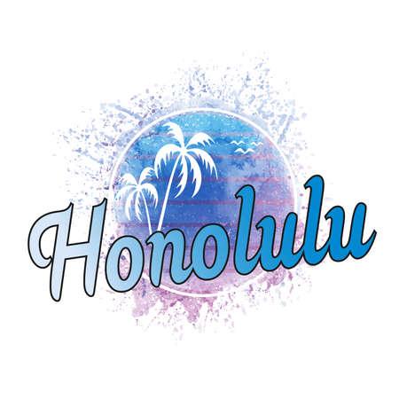 Honolulu Hawaii surf grunge poster with summer shield inside