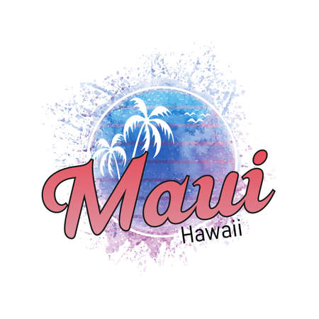 Maui Hawaii surf watercolor splash banner and sunset