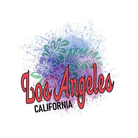 califonia los Angeles watercolor splash flower vector art