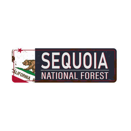 metal road sign Sequoia National Forest, United States of America, National Park on white, vector illustration.
