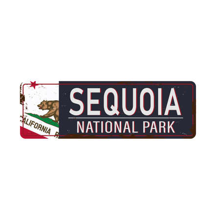 metal rusty road sign Sequoia National Forest, United States of America, National Park on white, vector illustration