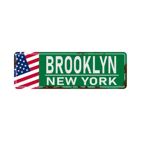 Brooklyn green road sign isolated on white background. Vettoriali