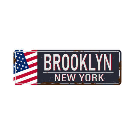 Brooklyn blue road sign isolated on white background. Vettoriali