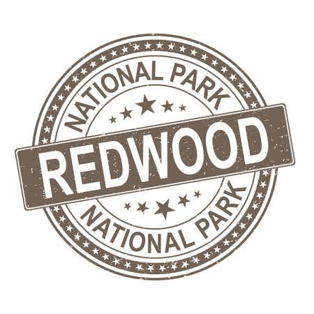 brown rubber stamp Redwood National Park, California vector illustration