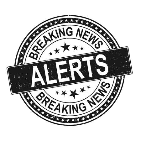 black BREAKING NEWS ALERT blue stamp text on white