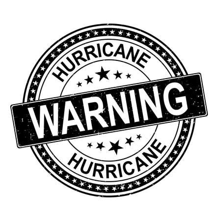 black Hurricane round red stamp text on white background