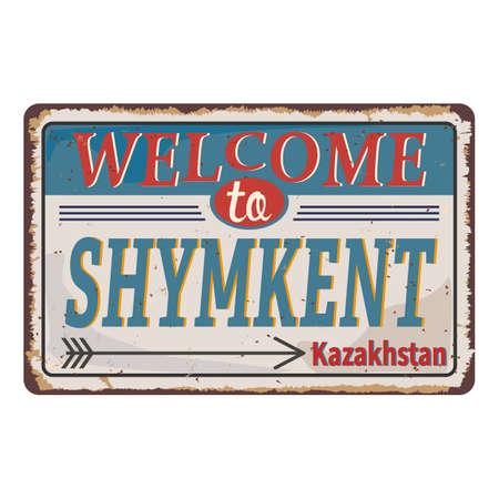 Shymkent road sign isolated on white background.