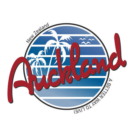 Auckland, New Zealand palm beach Logo. Adventure Landscape Design Vector Illustration. Logos