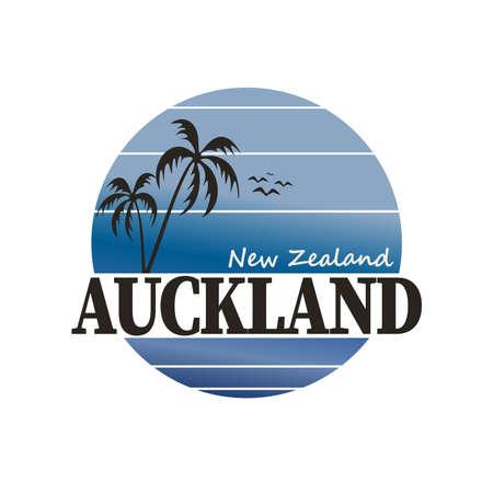 Auckland, New Zealand palm beach Logo. Adventure Landscape Design Vector Illustration.