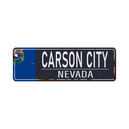 Carson City blue road sign isolated on white background