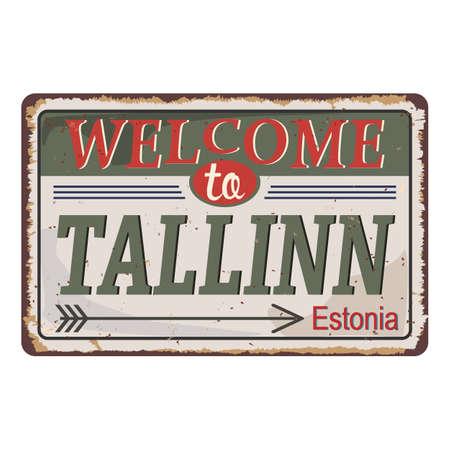 Tallin Estonia road sign Icon Skyline City Design