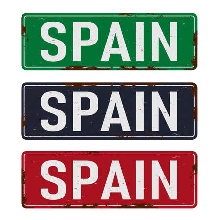 Unique retro tin sign collection of Spain. Vintage vector souvenir sign or postcard templates. Travel theme. Places to visit and remember.