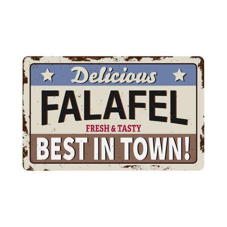 Falafel old grunge METAL RUSTED SIGN on white, vector illustration