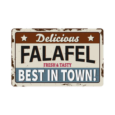 Falafel old grunge METAL RUSTED SIGN on white, vector illustration on a white background