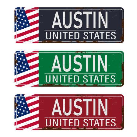 Retro tin sign collection with USA city names Austin. Vintage vector souvenir sign