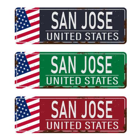 San Jose City metal rusted road sign on white Illusztráció
