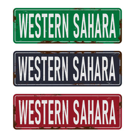 Western Sahara blue square grunge vintage isolated sign