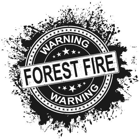 FOREST FIRE warning STAMP. No flame blue sign icon. Forest safety warning sign isolated in white background. Vector illustration. Vetores