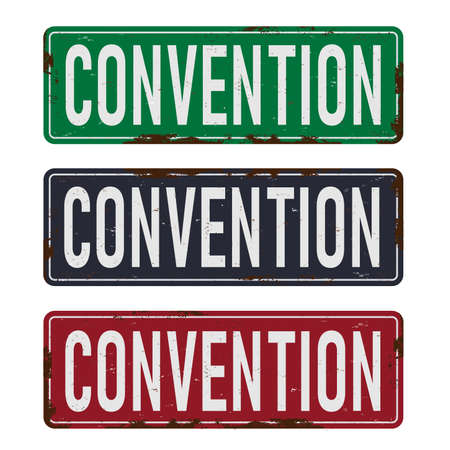 convention old dusty rusted road sign set
