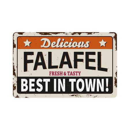 vintage Falafel old grunge METAL RUSTED SIGN on white, vector illustration on a white background