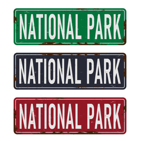 old vintage National Park direction road sign Иллюстрация