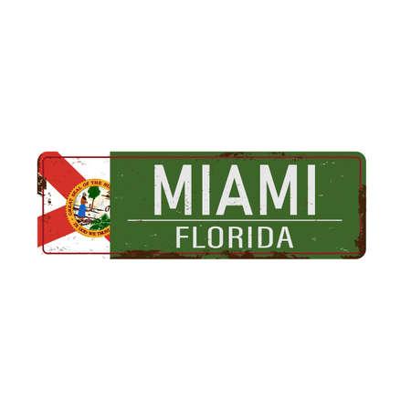 Miami , Florida, road sign green vector illustration, road table, USA city