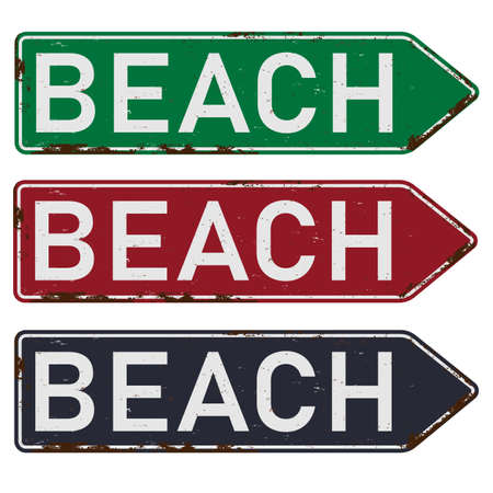 Vector illustration of the Beach color road sign arrow set Illustration